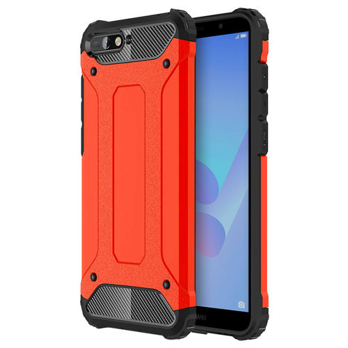 Military Defender Shockproof Case for Huawei Y6 (2018) - Red